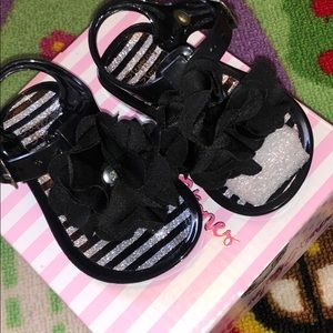 Other - Black flower sandals for baby girl